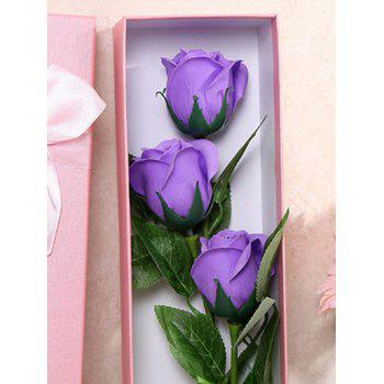 3 Pcs Handmade Rose Soap Artificial Flowers and Bear - PURPLE