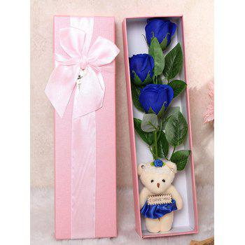 3 Pcs Handmade Rose Soap Artificial Flowers and Bear - ROYAL ROYAL