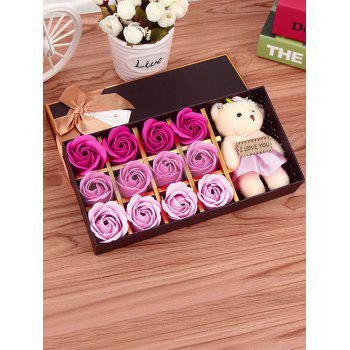 12 Pcs Ombre Rose Savon Artificial Flower and Bear