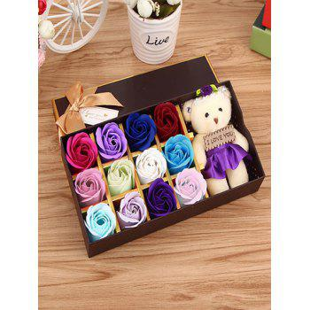 12 Pcs Ombre Rose Soap Artificial Flower and Bear