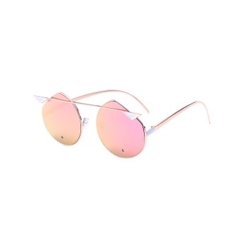 Metal Crossbar Cat Eye Mirror Cut Sunglasses
