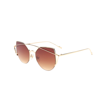 Cat Eye Cambered Metallic Crossbar Sunglasses