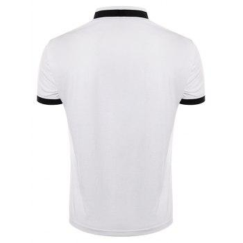Stand Collar Embroidered Color Block Panel T-Shirt - WHITE XL