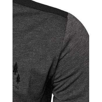 Stand Collar Embroidered Color Block Panel T-Shirt - GRAY GRAY