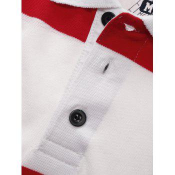 Broad Stripe Design Badge Embroidered Polo T-Shirt - RED RED