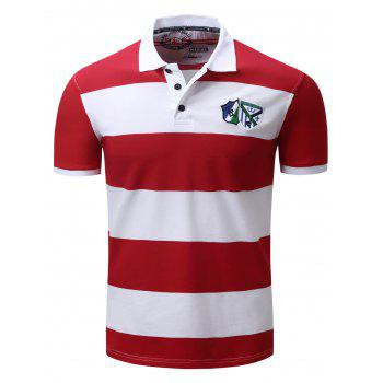 Broad Stripe Design Badge Embroidered Polo T-Shirt - RED M