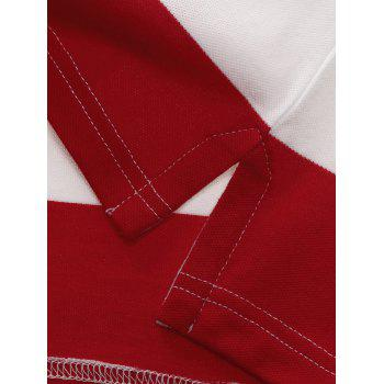 Broad Stripe Design Badge Embroidered Polo T-Shirt - M M