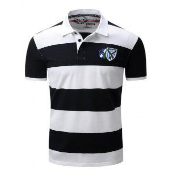 Broad Stripe Design Badge Embroidered Polo T-Shirt - DEEP BLUE 2XL