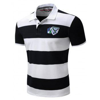 Broad Stripe Design Badge Embroidered Polo T-Shirt - 2XL 2XL