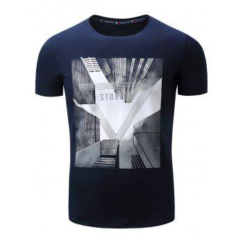Highrise Graphic Geometric 3D Print T-Shirt - ROYAL 2XL