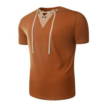 V Neck Lace Up Suede Panel T-Shirt - EARTHY EARTHY