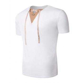 V Neck Lace Up Suede Panel T-Shirt - WHITE WHITE