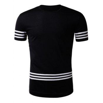 Varsity Stripe Braid Short Sleeve T-Shirt - BLACK 2XL