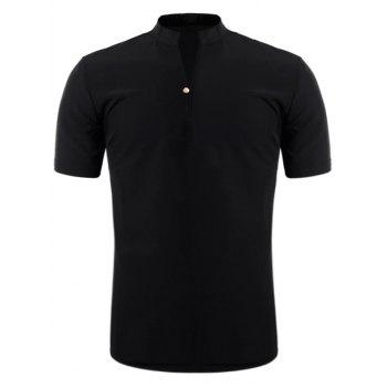 Short Sleeve Half Button Design Shirt