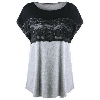 Plus Size Lace Insert Linen Tunic T-Shirt