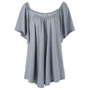 Plus Size Lace Panel Flowy T-Shirt
