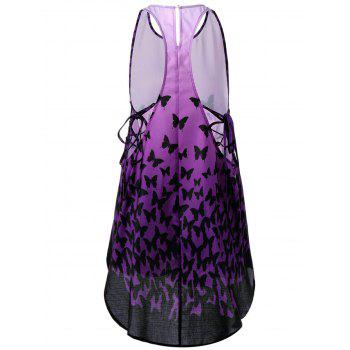 Ombre Butterfly Lace Up Racerback Tank Dress - Pourpre L