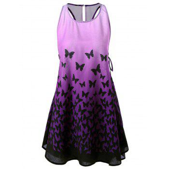 Ombre Butterfly Lace Up Racerback Tank Dress