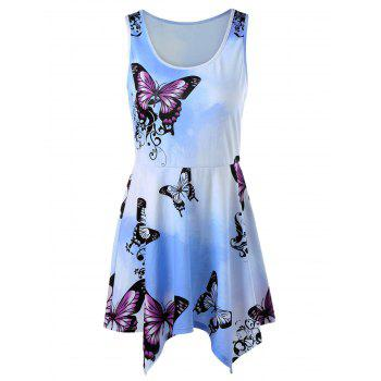 Butterfly Ombre Printed Mini Handkerchief Dress