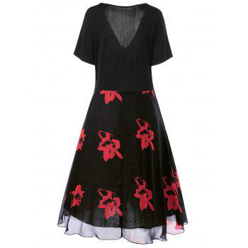 Two Layered Plus Size Floral Midi Surplice Dress - BLACK/RED XL