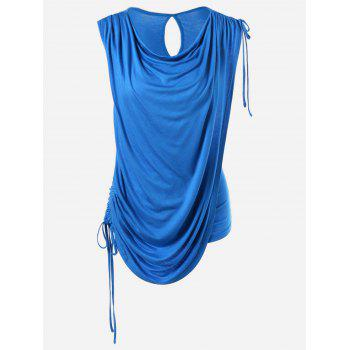 Sleeveless Tie Side Ruched Overlay T-Shirt