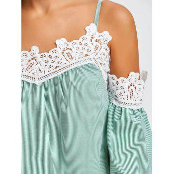 Stripe Laced Cold Shoulder Top - Vert clair XL