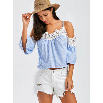 Stripe Laced Cold Shoulder Top - Bleu L