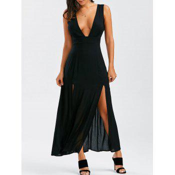 Plunging Neck Slit Maxi Evening Dress
