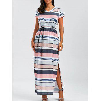 V Neck Stripe Side Slit Maxi Dress