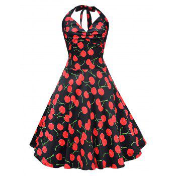 Vintage Halter Cherry Print Lace Up Dress