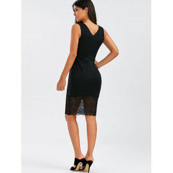 Floral Lace Panel Sleeveless Bodycon Dress - BLACK S