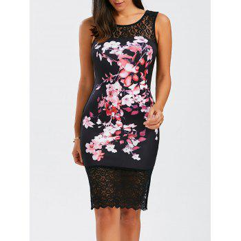 Floral Lace Panel Sleeveless Bodycon Dress