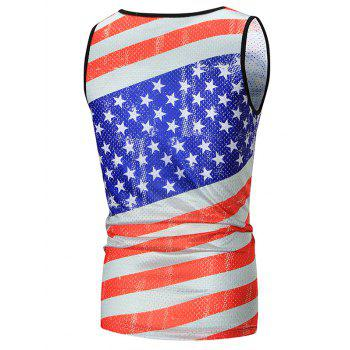 Stripe and Star Printed Mesh Tank Top - COLORMIX COLORMIX