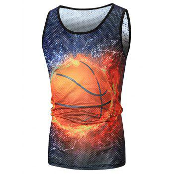 Basketball Print Mesh Sport Tank Top