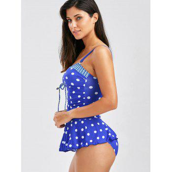 Polka Dot Convertible Skirted Tankini - Bleu M