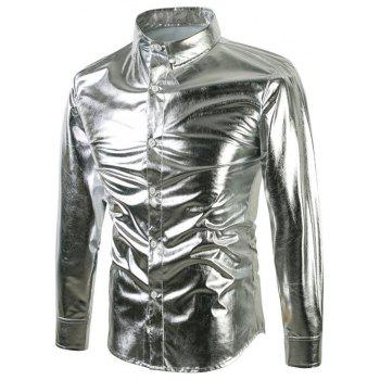 Bling Metallic Sequined Button Up Shirt