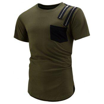 Pocket Zip Curved Hem T-Shirt