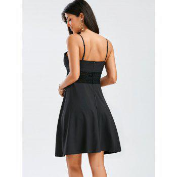 A Line Mini Slip Dress - BLACK BLACK