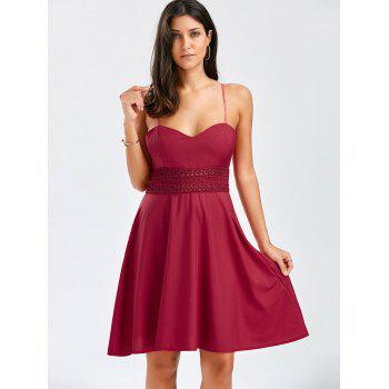 A Line Mini Slip Dress - WINE RED XL