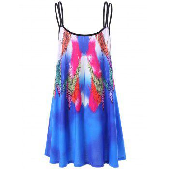 Feather Slip Dress - BLUE L