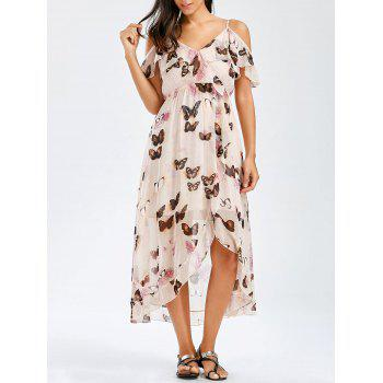 Asymmetric Chiffon Butterfly Print Dress