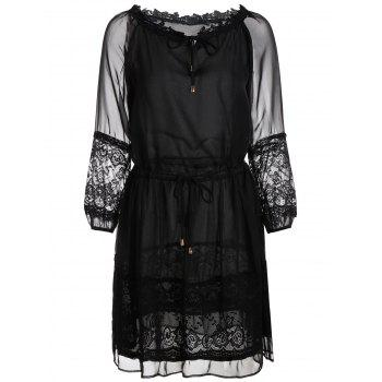 Lace Trim Sheer Chiffon Tie Waist Dress