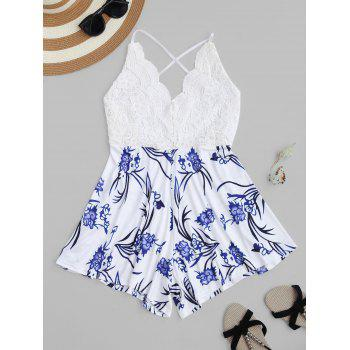 Lace Insert Floral Print Criss-Cross Romper