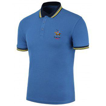 Polo Shirt With Striped Collar and Sleeves