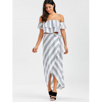 Off The Shoulder Flounce Top+Striped Wrap Skirts - GREY/WHITE M