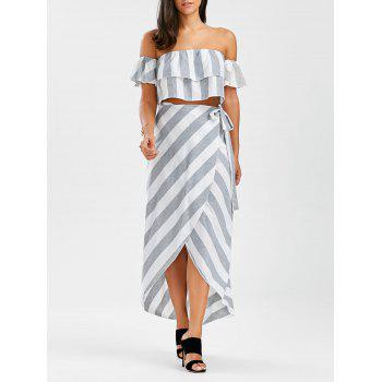 Off The Shoulder Flounce Top+Striped Wrap Skirts - GREY AND WHITE GREY/WHITE