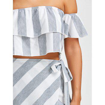 Off The Shoulder Flounce Top+Striped Wrap Skirts - GREY/WHITE GREY/WHITE