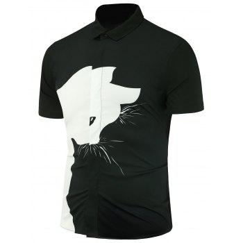 Cartoon Cat Printed Short Sleeves Shirt
