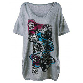 Plus Size Rose Graphic Cold Shoulder T-Shirt