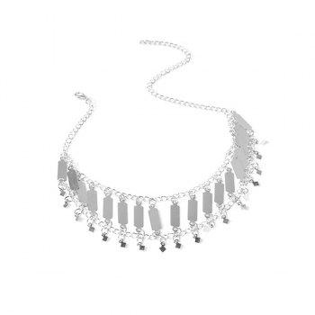 Fringed Geometric Sequins Necklace - SILVER